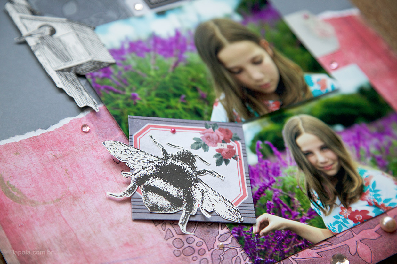 Detalhe mostrando uma abelha recortada usada na composição de página de scrapbook feita por Ilana Polakiewicz para o Desafio Scrap entre Amigas 71