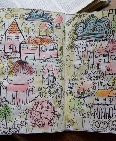 Ilustração feita com canetas e aquarela no meu sketchbook